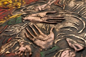 Painting detail of cracks on Mother Mary's hands